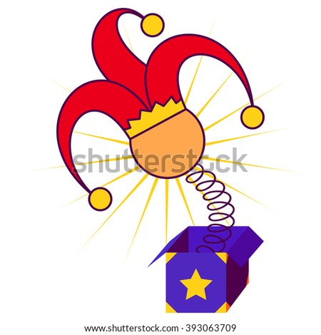 April fool's day concept with jester in red and yellow hat springing out of a box. Flat design vector illustration on white background. - stock vector