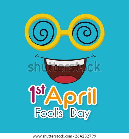 April fools day card design, vector illustration. - stock vector