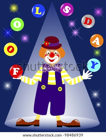 April fools' day. Cute a clown juggling balls on a dark background with glowing lights. Vector illustration.