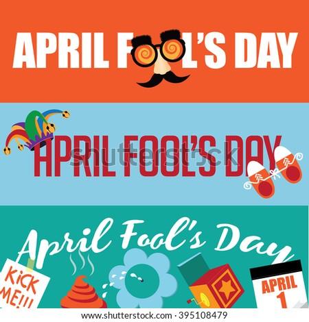 April Fools Day flat design banner set. EPS 10 vector illustration - stock vector