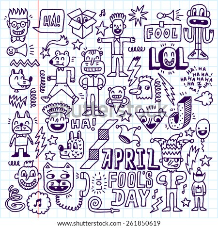 April fools day funny doodle set 1. School notebook. Vector illustration. Hand drawn.  - stock vector