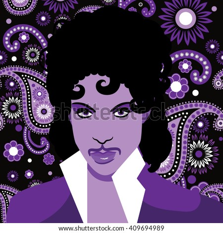 APRIL 22, 2016: Illustrative editorial drawing of musical artist Prince. EPS 10 vector. - stock vector