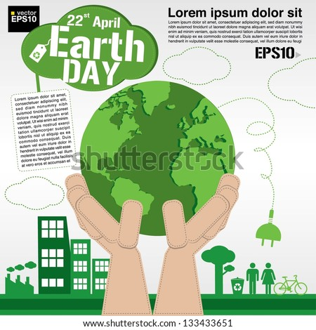 April 22nd Earth day illustration conceptual vector.EPS10