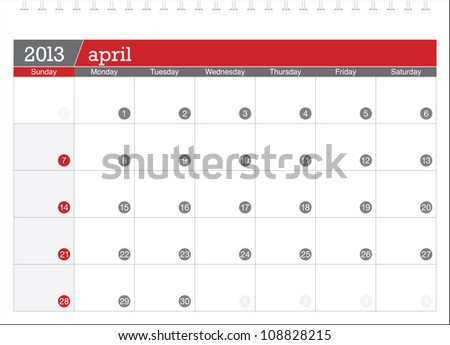 april 2013-planning calendar - stock vector