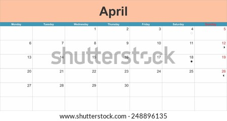 April 2015 planning calendar. Illustration - stock vector