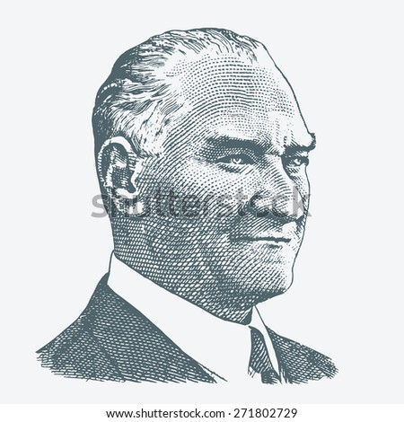 April 23, 2015 - Portrait of Mustafa Kemal Ataturk (1881-1938), founder and first president of the Turkish Republic (1923-1938)