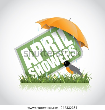 April showers icon EPS 10 vector stock illustration - stock vector