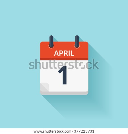 April 1. Vector flat daily calendar icon. Date and time, day, month. Holiday. - stock vector