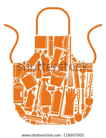 Apron with silhouettes of the equipment for cleaning - stock vector
