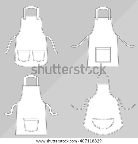 Aprons with outsets and pockets - stock vector