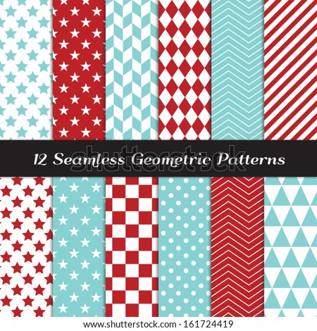 Aqua Blue and Red Geometric Seamless Patterns. Backgrounds in Diamond, Chevron, Polka Dot, Checkerboard, Stars, Triangles, Herringbone and Stripes Patterns. Pattern Swatches made with Global Colors. - stock vector