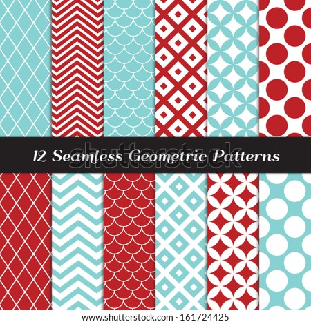 Aqua Blue and Red Geometric Seamless Patterns. Retro Mod Backgrounds in Jumbo Polka Dot, Diamond Lattice, Scallops, and Chevron Patterns. Pattern Swatches made with Global Colors. - stock vector