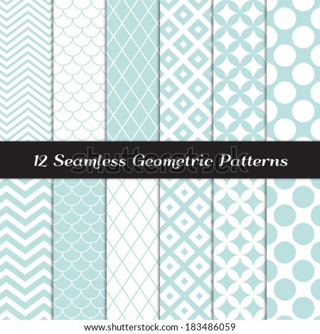Aqua Blue and White Retro Geometric Seamless Patterns. Pastel Color Mod Backgrounds in Jumbo Polka Dot, Diamond Lattice, Scallops, Quatrefoil and Chevron. Pattern Swatches made with Global Colors. - stock vector