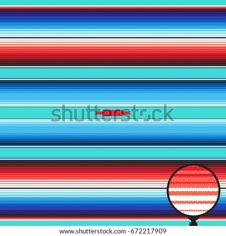 Aqua Blue Orange Serape   Mexican Blanket Stripes Seamless Vector Pattern.  Rug Texture With Threads