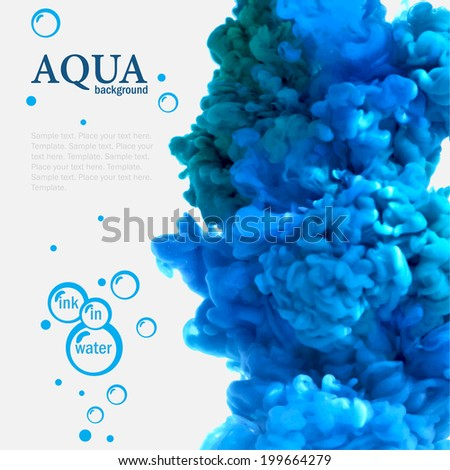 Aqua blue swirling ink in water template with bubbles - stock vector