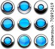 Aqua high-detailed buttons in different styles. - stock vector