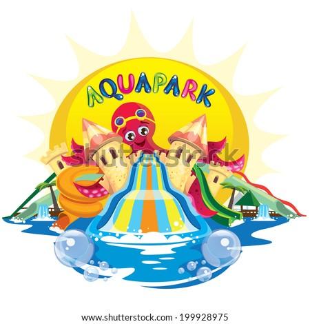 aqua park with octopus - stock vector