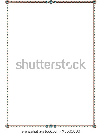 Aquamarine and copper vector border - stock vector