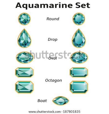 Aquamarines set different cut - round, drop, oval, boat and octagon. Brilliant three-dimensional jewelry on a white background. Isolated Objects. Used free font Amble (taken here www.fontsquirrel.com)