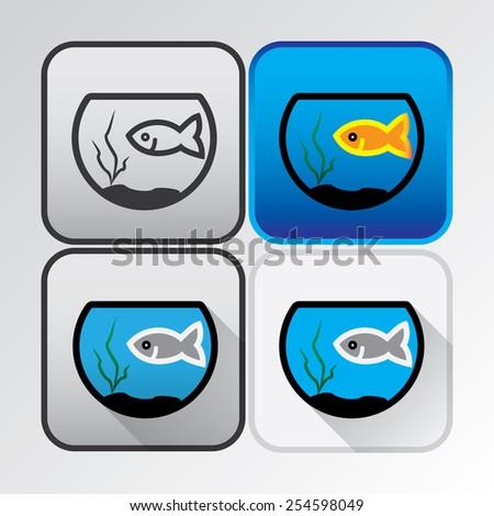 Aquarium colored icons - stock vector