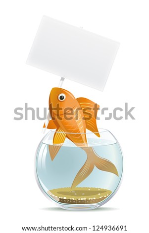 Aquarium fish blank. Illustration of the character who wants to get his message across. - stock vector