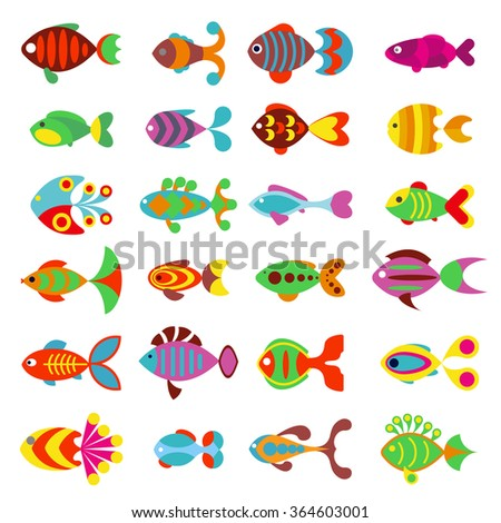 Aquarium flat style fishes vector icons. Set of vector fish icons. Sea and aquarium fish isolated on white background. Fish cartoon cute style illustration - stock vector