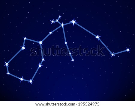 Aquarius constellation on the starry sky - stock vector