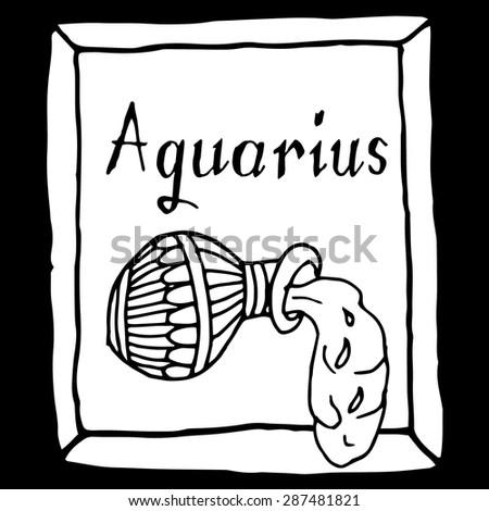 Aquarius horoscope sign vectorized hand draw - stock vector