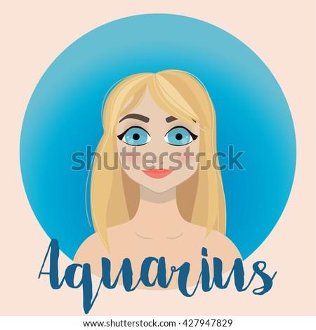 Aquarius Zodiac Sign Illustration - horoscope - vector - stock vector
