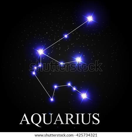 Aquarius Zodiac Sign with Beautiful Bright Stars on the Background of Cosmic Sky Vector Illustration EPS10 - stock vector
