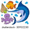Aquatic animals collection 3 - vector illustration. - stock vector