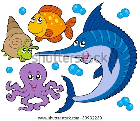 Aquatic animals collection 3 - vector illustration.