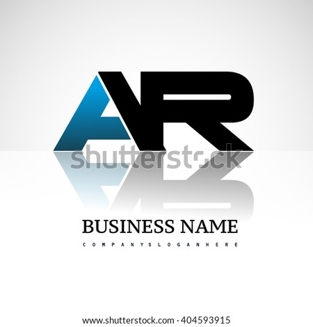 AR company linked letter logo icon blue and black - stock vector