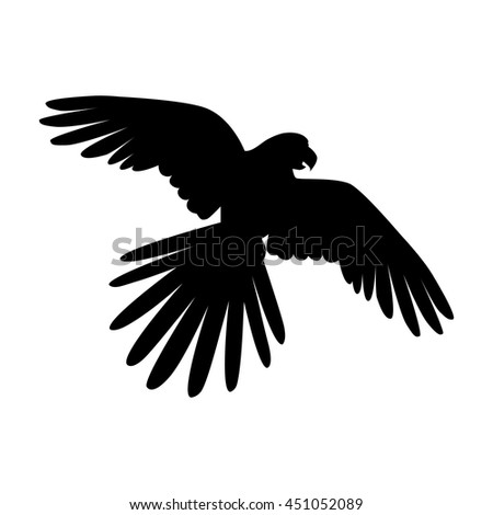 Ara parrot vector. Birds of Amazonian forests in flat design illustration. Fauna of South America. Flying black Ara parrot for icons, posters, childrens books illustrating. Isolated on white. - stock vector