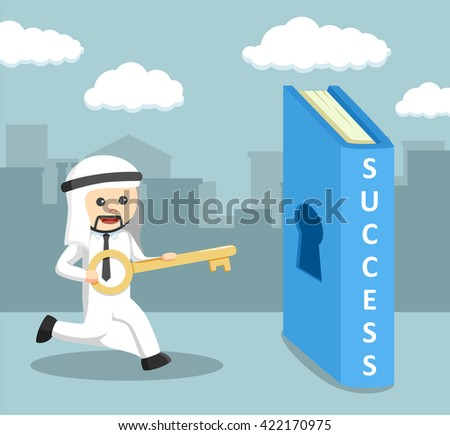 arab businessman carrying key to the  success book - stock vector