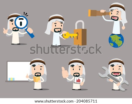 Arab businessman character - web - stock vector