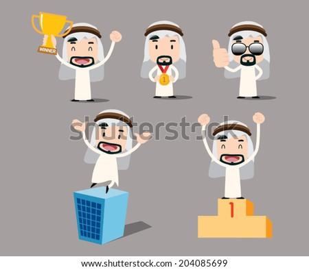 Arab businessman character - winner - stock vector