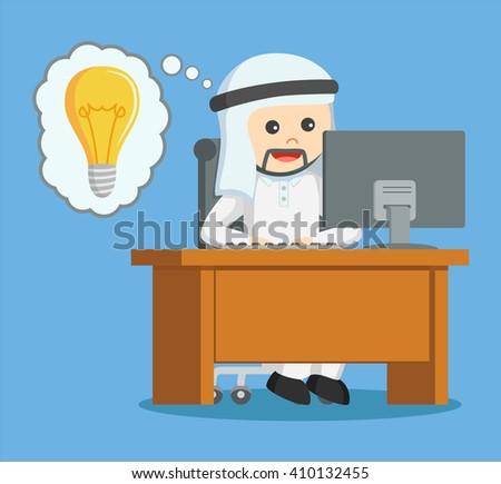arab businessman got idea while working - stock vector