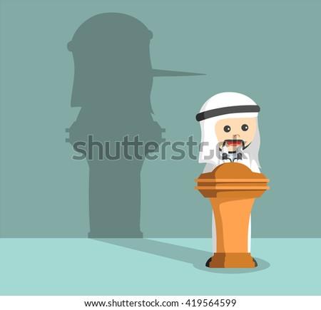 arab businessman lied in his speech - stock vector