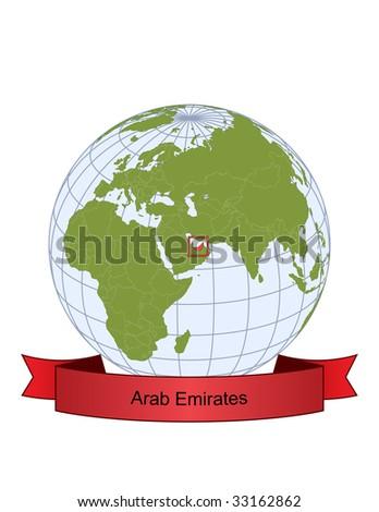 Arab Emirates, position on the globe - stock vector