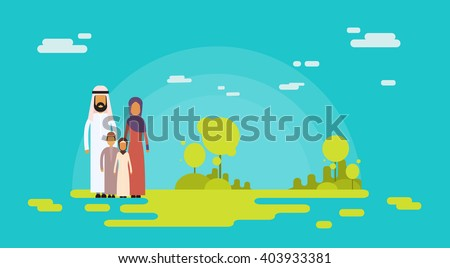 Arab Family Four People, Arabic Parents Two Children Nature Background Flat Vector Illustration