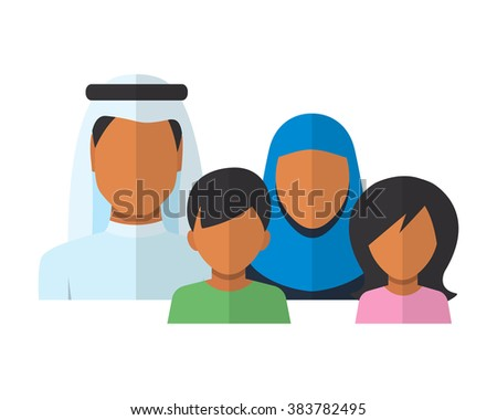 Arab Family members avatars in flat style. Father, mother, son and daughter, Vector Illustration