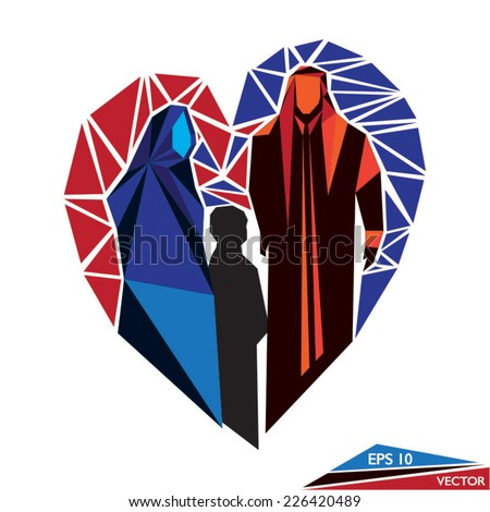 Arab Family Mosaic - stock vector