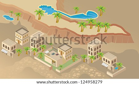 Arab house. Isometric vector. - stock vector