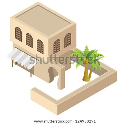 Arab house. Isometric vector.