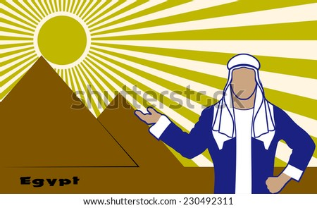 Arab in the background of Egyptian pyramids - stock vector