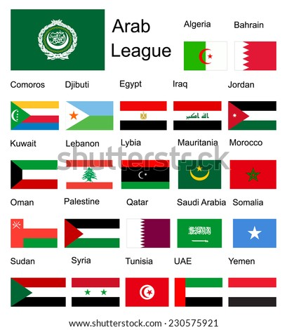 Arab League Arab member countries vector flags. Original and simple Arab league members flag isolated vector in official colors and proportion correctly  - stock vector