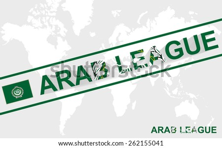 Arab League flag and text illustration, on world map - stock vector