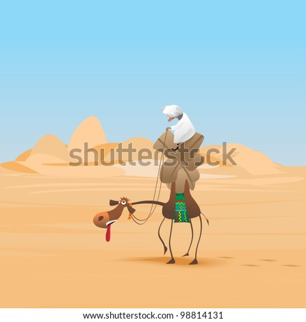Arab man carries goods on a camel in the desert - stock vector