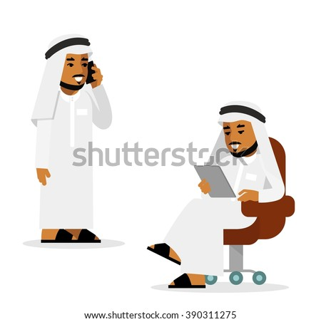 Arab man in tablet pc and smartphone internet working concept. Young saudi arabic man sitting with tablet computer, standing and using mobile phone - stock vector